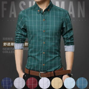 68b7e971154 Details about Mens Plaid Casual Shirts Tailoring Slim Fit 100% Cotton  Business Formal Shirts