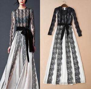 Vestito-Lungo-Donna-Pizzo-e-Chiffon-Woman-Maxi-Dress-Lace-and-Chiffon-OB14557