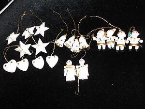 19 teiliger Weihnachtsschmuck aus Holz weiss/gold - Deutschland - 19 teiliger Weihnachtsschmuck aus Holz weiss/gold - Deutschland