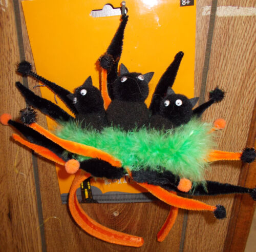 Three Black Cats Green Feather Pom Poms Halloween Headband OSFM NWT