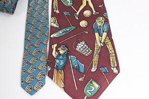 Vintage-1970s-Neck-Tie-GOLFERS-Keith-Daniels-Maroon-Multi-57-034-X-3-3-4-034-Silk