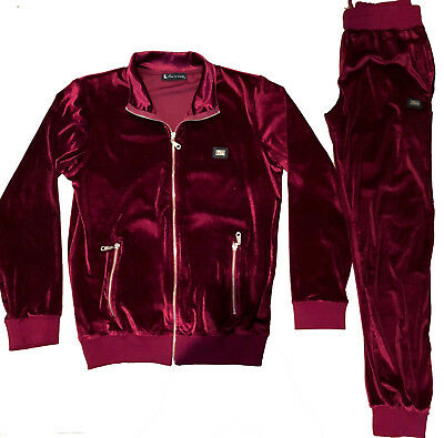 Mens Velour Tracksuit Designer Time Is Money Hip Hop Streetwear Burgundy Slim Ebay