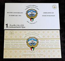 Kuwait 1993 One Dinar Polymer Commemorative with Folder Pick-CS1 UNC