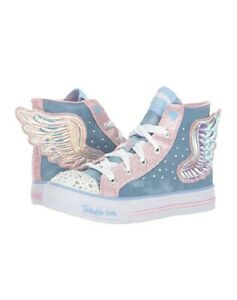 Details about Skechers Twinkle Toes Shuffles Fooling Flutters Hi Top 13 S Light Wings limitedE