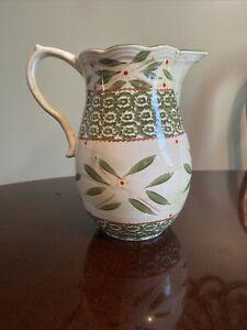 "Temp-tations by Tara Old World Green 1.5 Qt Ceramic Pitcher 9"" Tall - Excellent!"