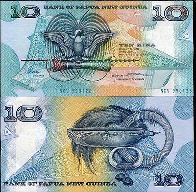 PAPUA NEW GUINEA 10 KINA ND 1988 P 9 a SIGN 2 ToRobert-Volupindi UNC
