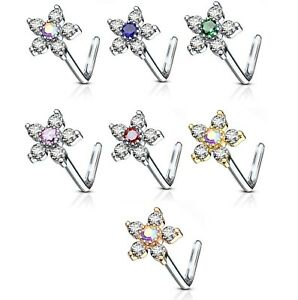 TWO-COLOR-CZ-FLOWER-20G-NOSE-RING-STUD-L-SHAPE-STEEL-BODY-PIERCING-JEWELRY