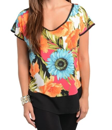 WOMENS PLUS SIZE CLOTHING ORANGE /& BLUE FLOWER PRINT TUNIC TOP WITH TIE BACK