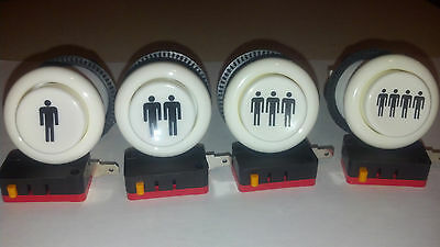Set of (4)   Player 1 - 4  Happ style long arcade button ships from USA