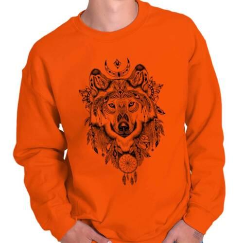 Native American Dreamcatcher Spirit Wolf Spiritual Symbol Pullover Sweatshirt