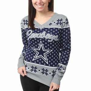 Dallas Cowoys Women s Navy Big Logo V-Neck UGLY Christmas Sweater ... 626ae9b2e