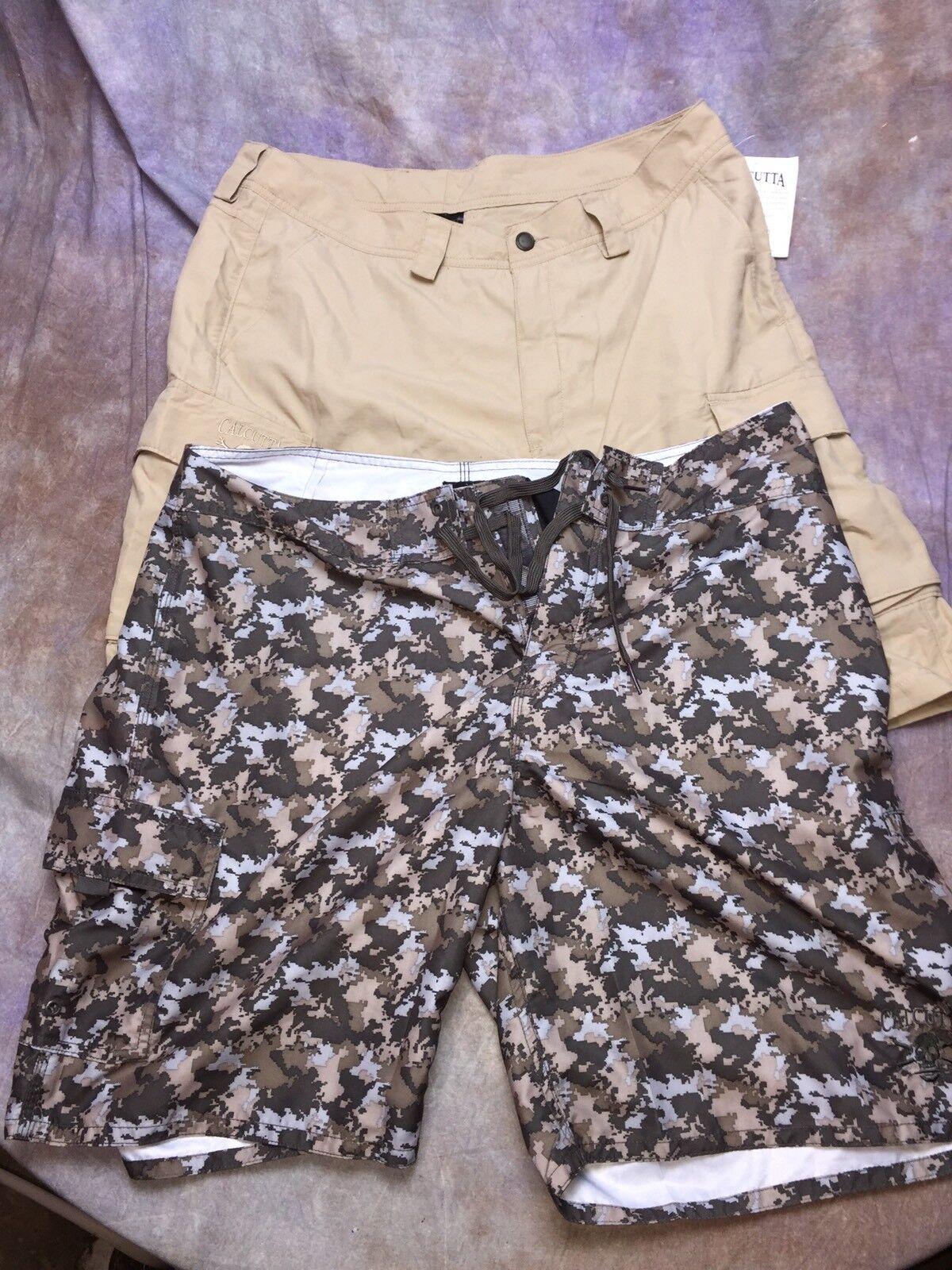 SAH lot 2 pairs NEW Calcutta Fishing Swimming Board Shorts Men  NEW NWT sz 36