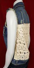FREE PEOPLE M Jean Jacket Crochet Distressed Denim Vest Sleeveless Crochet WD