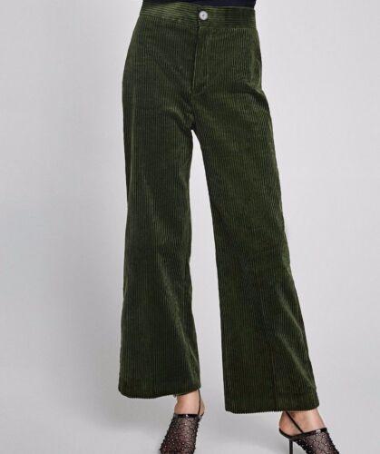 M Aw17 Nouveauté haute épais 8543 taille vert passepoilé femme en 723 Zara côtelé Pantalon velours CwqO4x6vZ