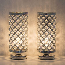 HAITRAL Set of 2 Crystal Bedside lamp Pair Night Light 110 Pieces K9 Crystals