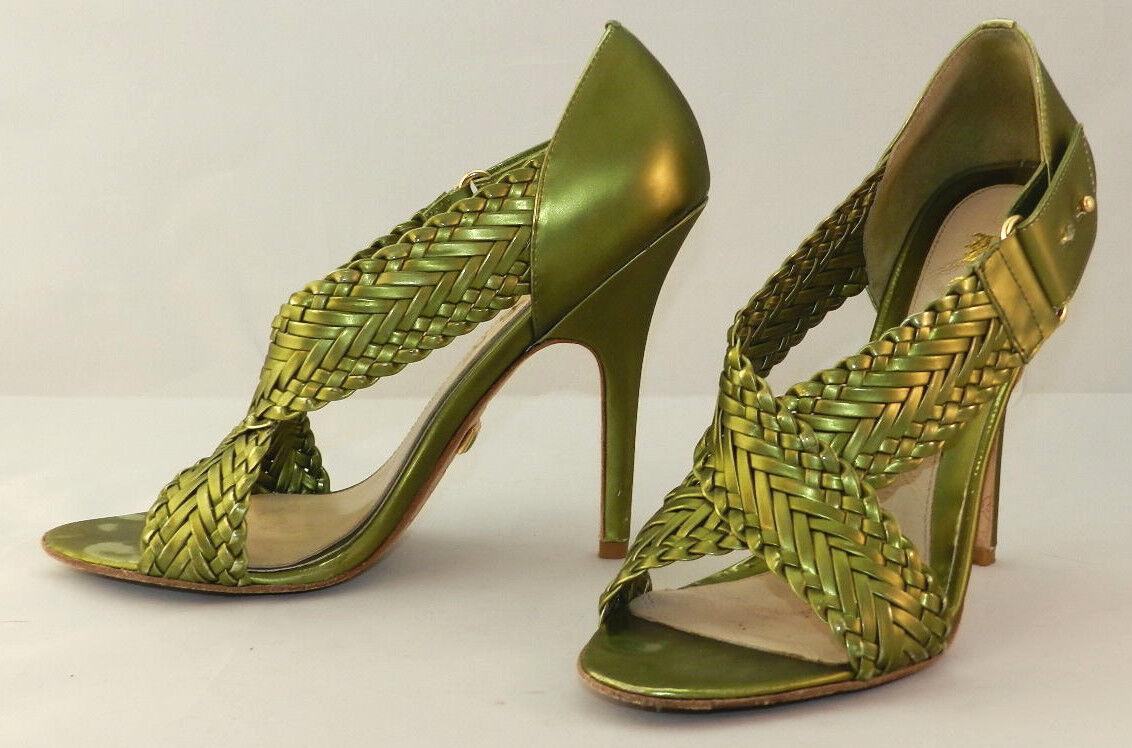 L.A.M.B. Metallic Green Leather Heels Woven Straps Size 8M EUC   8