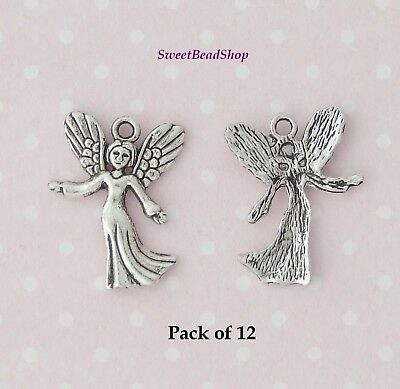 6 x Tibetan Silver Spiritual Angel Fairy Charm Pendant Finding Beads Making