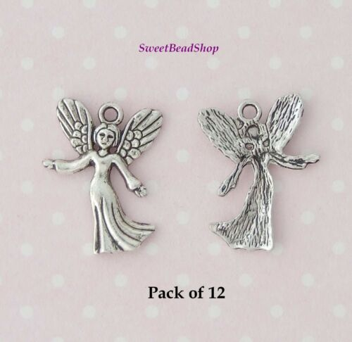 12 Antique Silver Colour 25 x 18mm Spiritual Protective Angel Fairy Charms