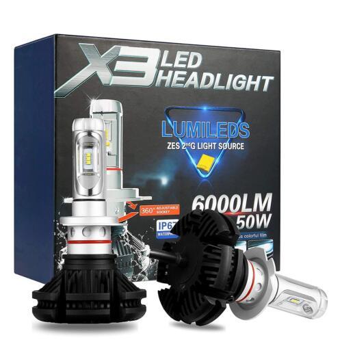 SET LEUCHTEN H7 LED X3 LED HEADLIGHT 6000LM 50W LUMILEDS ZES 2G ALUMINIUM IP67