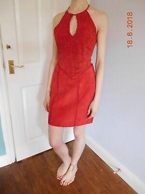 Acquista A Buon Mercato Vintage Red Pelle Scamosciata E Crochet Minigonna E Top, Taglia 10-mozzafiato-mostra Il Titolo Originale