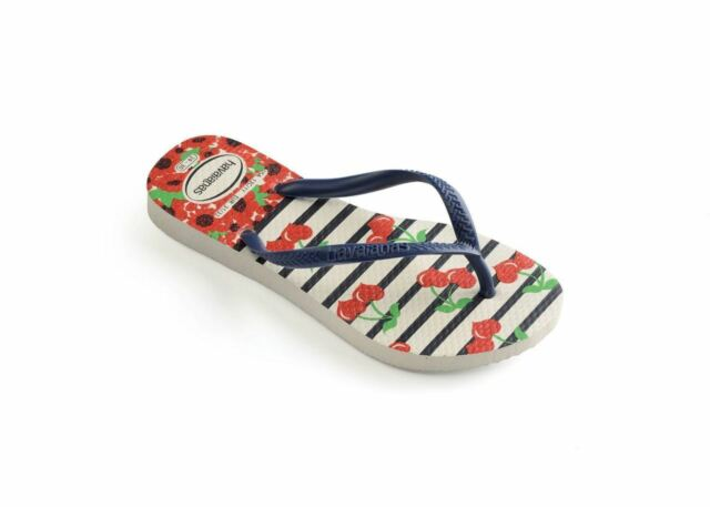 Havaianas Kids Slim Fashion White//Navy Blue Flip Flops