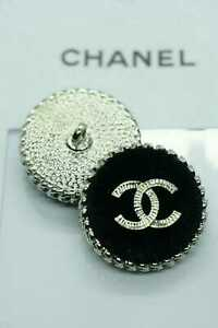 2-Two-Chanel-buttons-2-pieces-metal-Tweed-cc-1-inch-26-mm