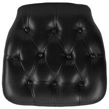 Hard Black Tufted Vinyl Chiavari Chair Seat Cushion For Crystal Resin Chair