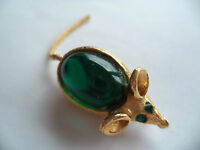 """Vintage Unsigned  """"Goldtone/Green Jelly Belly Mouse"""" Brooch/Pin   Green Eyes"""