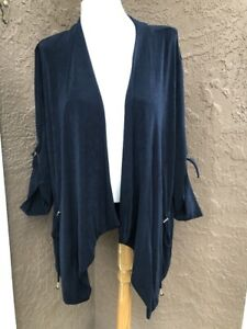 New-RARE-109-Chicos-Travelers-India-Ink-Navy-Blue-Acetate-Jacket-3-XL-16-18-NWT