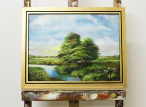 Painting-Forest-Handmade-Oil-Picture-Frame-Landscape-G96109