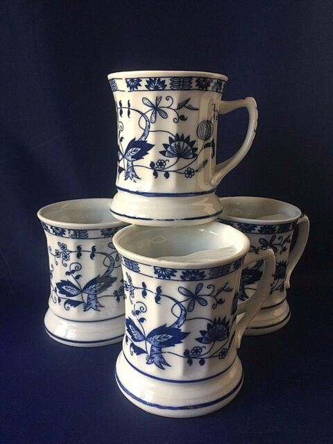 Vienne Woods by Seymour Mann Porcelain Blue Onion Moustache Mugs Set of 4 Four