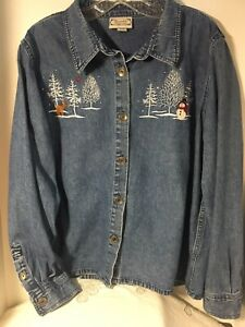 Decorated-Originals-Women-039-s-Rhinestone-Embellished-Denim-Blue-Jean-Jacket-Sz-L