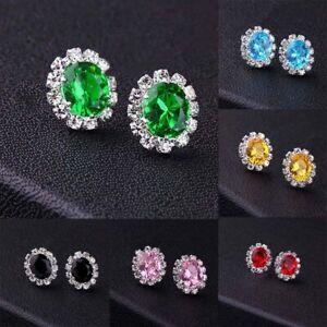 Crystal Pierced Sparkle  Earrings Gem Women Stud Oval Ladies Silver Rhinestone