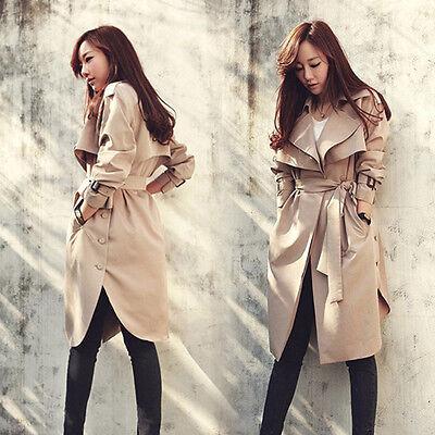 Women Belt Long Trench Coat Apricot Outerwear Winter Overcoat Windbreaker Parka