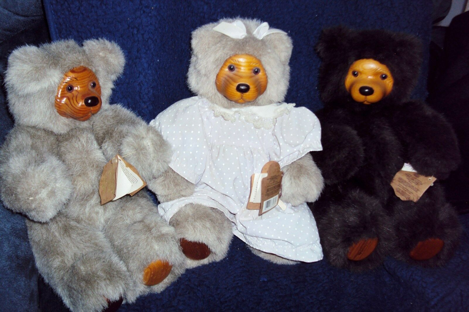 RAIKES COOKIE TEDDY BEARS 1989 LT BRN, DK BRN & PLAYTIME COOKIE12  W TAGS