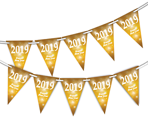 Happy New Year 2019 Fireworks Bright Bunting Banner 15 Flags By