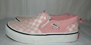 VANS  Pink White Checks Sneaker Tennis Shoes Loafer Deck Girls size 1