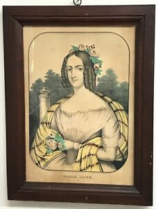 Framed-Antique-Kelloggs-amp-Comstock-Lithograph-Print-Sarah-Jane-76