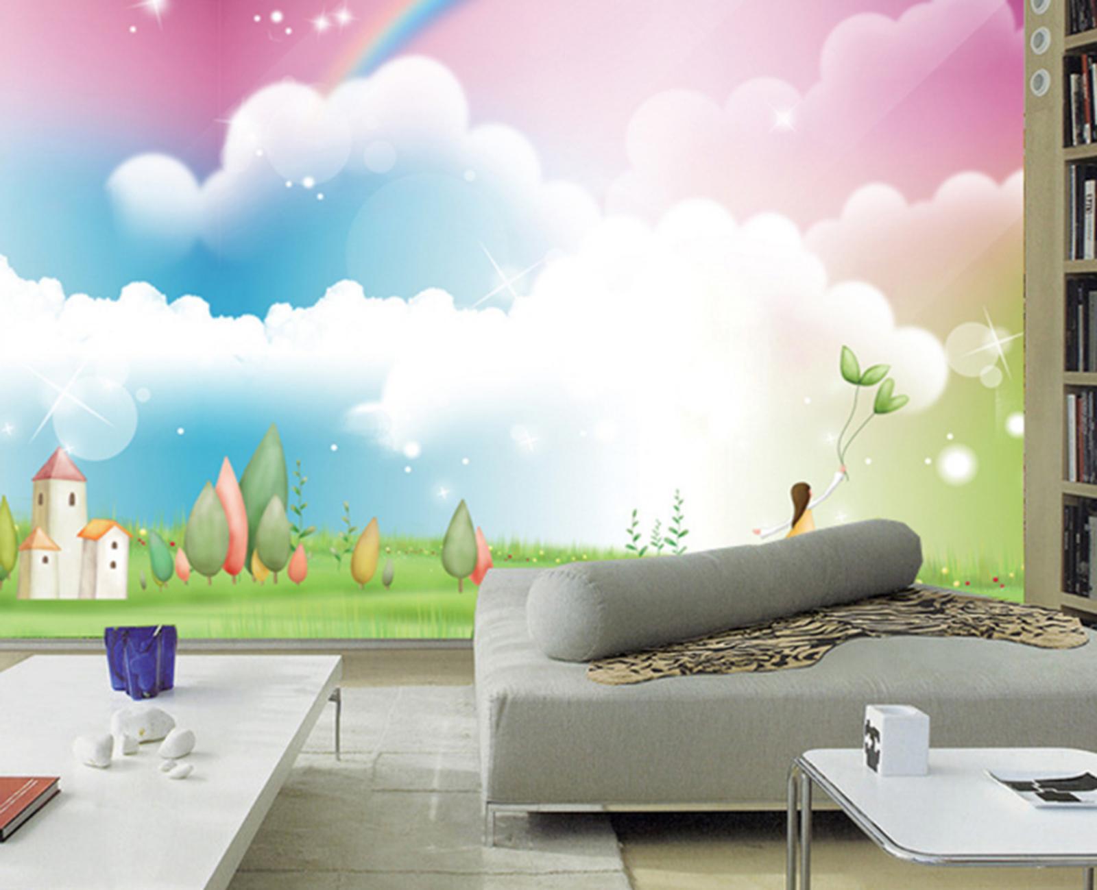 3D Farbiges Wolken Gras 885 Tapete Wandgemälde Tapeten Bild Familie DE Summer  | Ideales Geschenk für alle Gelegenheiten  | Ausgezeichnet  | Wirtschaftlich und praktisch