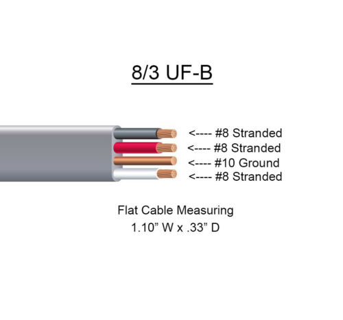 8//3 UF-B x 90/' Southwire Underground Feeder Cable