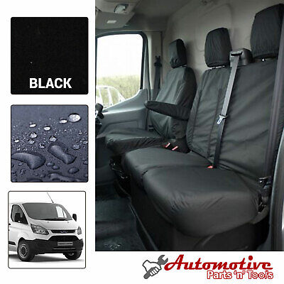 Black Driver Armrest Double Passenger Seat Covers Set for Ford Transit Custom