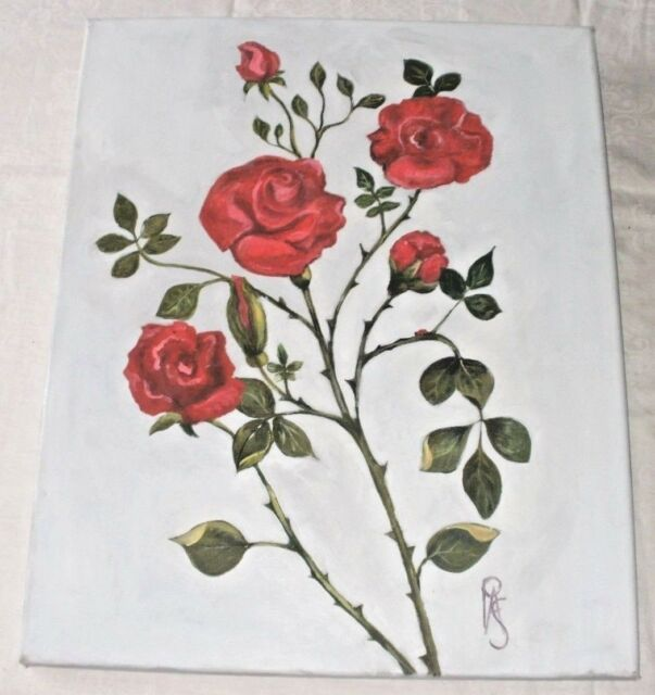 Beautiful Red Roses On Raised Medium  Oil Painting By Pauline Ann Smith PAS