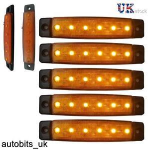 10 piezas NARANJA ámbar 24V 6 LED Intermitente Lateral Indicadores Luces Camión