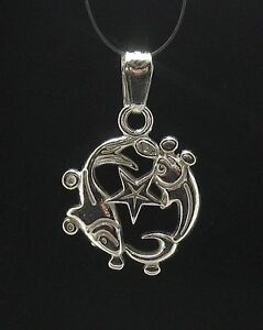 Sterling-Silver-Pendant-Solid-925-Charm-Zodiac-Sign-Pisces-Handmade-Empress