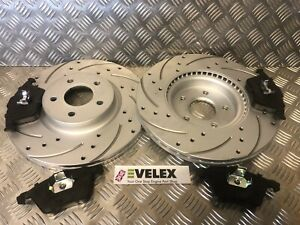 FRONT-DRILLED-GROOVED-BRAKE-DISCS-PADS-KIT-FORD-FOCUS-ST225-OE-QUALITY