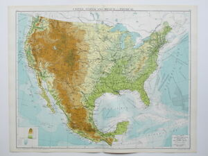 Details about 1920 Map United States & Mexico (Physical) Large Colour Map  Gross