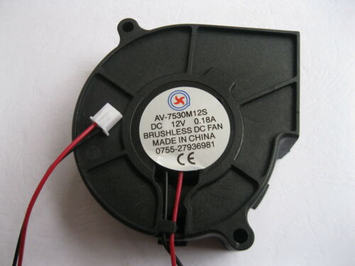 1 pcs Brushless DC Cooling Blower Fan 7530S 12V 2 Wire 75x75x30mm Sleeve Bearing