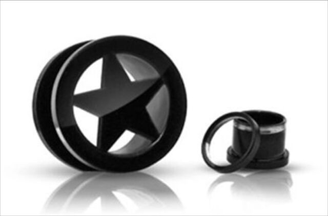 "Pair 1"" Black Titanium Star Screw On Hollow Tunnels Ear Plugs Earlets Gauges"