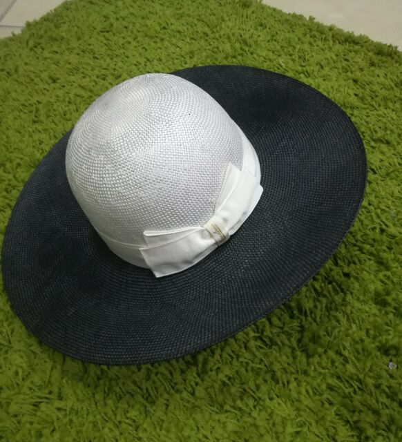 Cappello Borsalino Panama Donna in paglia Nero beige cm 58  9c6ee08b1a58