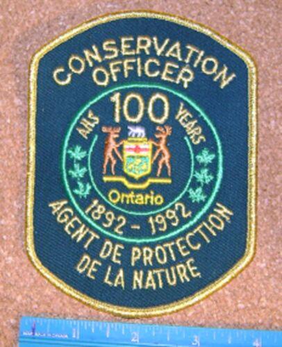 ONTARIO MNR 1892-1992  CONSERVATION OFFICER PATCH,L+F,DNR,enforcement,police